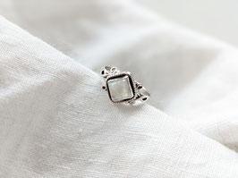 *925 Sterling Silber* Ring Naturstein Mondstein Weiß   Viereck
