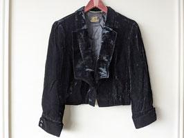 Samtblazer Paisley Muster Schwarz Oversized Kurz Jacke Blouson (L)