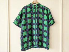 Hemd 100% Seide Karo Muster Schotten Glencheck Silk Shirt (L-XL)
