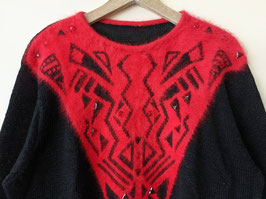 Pullover Angora Wolle Strickmuster Rot 80s Grafische Muster (L-XL)
