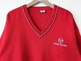 *Sergio Tacchini* Pullover Logo Stickerei 80s Rot V-Neck (M-L)