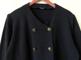 Strickjacke Marine Stil Zweireiher Wolle Dunkelblau (L)