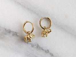 Vergoldete Ohrringe Elefanten Creolen 14k Gelbgold Vintage Stil