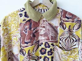 Hemd Animal Print Polo Kragen Senfgelb • Heavin (L-XL)