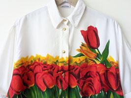 Bluse Tulpen Print 80s Weiß Bunt Heavin (M-L)
