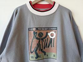 Sweater Tennis Print Grau Oversized Crewneck Streifen (XL)