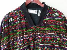 Blouson 100% Seide Azteken Muster Bunt Bomberjacke (L-XL)