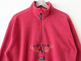 Fleece Sweater Aigle Stickerei Horse Show Rot Half-Zip (L-XL)