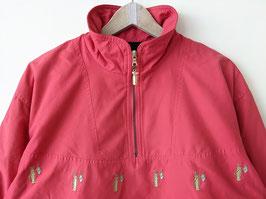 Windbreaker Rot Fleece Half-Zip Golf-Stickerei 80s (M-L)