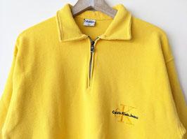 *Calvin Klein* Sweater Half-Zip Gelb Logo Stickerei Ripped (L-XL)