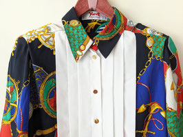 Bluse Yarell Maritimes Muster 80s Anker Bunt (S-M)