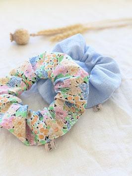 Scrunchie Set Upcycling Vintage • Pastell Blumen & Hellblau Leinen
