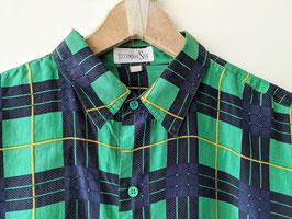 Hemd 100% Seide Karo Muster Schotten Glencheck Shirt (L-XL)