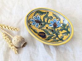 Seifenschale handbemalt Blumen Muster Gelb