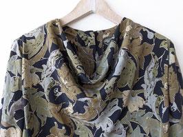 Blouson Bluse Blumen Muster 80s Khaki Heavin (L-XL)