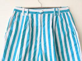 Bermunda Shorts Bundfalten Streifen Türkis Weiß 80s Muster (XS-S)