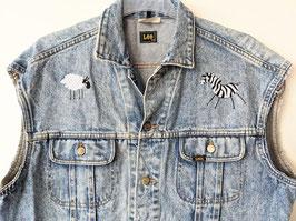 *Rare Lee* Jeans Weste Rider Stickerei Zebra & Schaf (M-L)