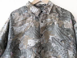 Hemd 100% Seide Crazy Pattern Khaki 80s • Heavin (XL)