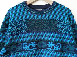 Pullover Merino Wolle Türkis Blau Strickmuster Crazy Pattern (XL)