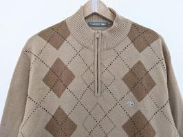 *Lacoste* Pullover Half-Zip Karo Muster Beige (M-L)