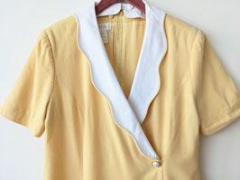 *Escada* Kleid 80s Pastell Weißer Kragen 100% Wolle (L)