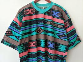 T-Shirt Azteken Muster Türkis Rosa Crazy Pattern Ethno Neu (M-XL)