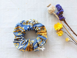 Scrunchie Haargummi Paisley Muster Senfgelb Blau Weiß (One Size)