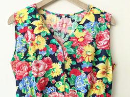 Kleid Blumen Print 80s Dunkelblau Bunt Knopfleiste Heavin (M-L)