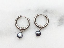 Silber Creole Edelstahl Süßwasserperle Blau Schimmernd Vintage Perle