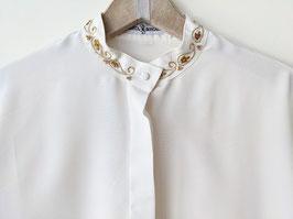 Bluse Perlen & Paisley Stickerei Creme-Weiß (L)