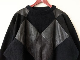 *Premium Qualität* Pullover Angora, Wolle & Leder Applikation (L)