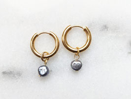 Gold Creole Edelstahl Süßwasserperle Blau Schimmernd Vintage Perle