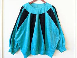Samt Sweater 80s Türkis Dunkelblau Grafisch (L-XL)