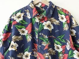 Hawaii Hemd Lotusblüten Dunkelblau Heavin (XL)