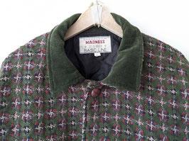 *Deadstock* Mantel Cord Kragen Hahnentritt Khaki 60% Wolle 80s Holzfäller (XL)