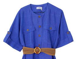 Kleid Kornblumen Blau Leinen Gürtel Oversized (L)