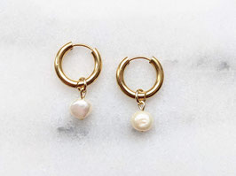 Gold Creole Edelstahl Süßwasserperle Anhänger Vintage Perle