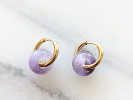 Gold Creole Amethyst Lila Naturstein Upcycling Vintage