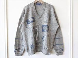 Pullover Mint Grau  Crazy Pattern Strickmuster Art V-Neck (L-XL)