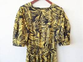 Kleid Jungle Palmen Blätter Print Afrikanisches Muster Ballonärmel Gelb Schwarz (M-L)