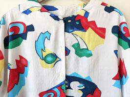 Bluse 80s Print Grafisch Bunt Weiß Heavin (L-XL)