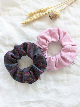 Scrunchie Set Upcycling Vintage • Paisley • Rosa Cord