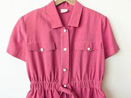 Kleid Seide Rosa Pink 80s Rüschen Cocktail-Kleid (M-L)
