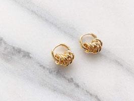 Vergoldete Ohrringe Creolen 14k Gelbgold Vintage Stil 5 Ringe