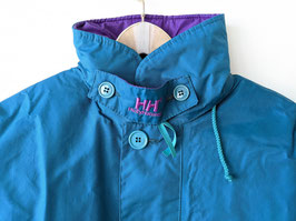 Helly Hansen Parka Wendejacke Türkis Lila Logo Patches Outdoor (M)