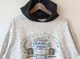 Sweater Hoodie Kapuze Schwarz Jeans Print Grau 80s (XL)