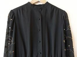 Kleid Perlen und Pailletten Stickerei Bodenlang Schwarz (S-M)