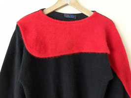 *Rare* ESCADA Pullover 80s Rot Schwarz Angora Wolle Designer (S)