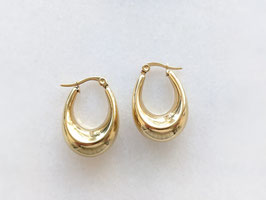 Goldene Creolen Ohrringe 14k Gelbgold Vergoldung Vintage Stil - Oval