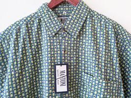 *Deadstock* Hemd 70s Print Punkte Neu mit Etikett Blau Grün (L-XL)